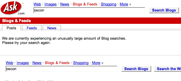 ASK blog search error message fun