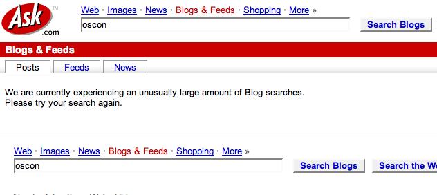 ASK blog search error message fun